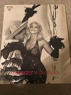 Vintage 1993 ANNA NICOLE SMITH GUESS Poster Print Ad #4 GEORGES MARCIANO RARE