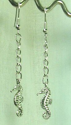 Seahorse Earrings Handmade Tibetan Silver Drop Dangle Long Chain Hook Earrings