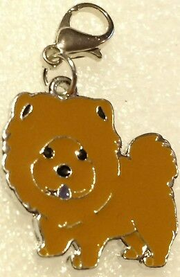 Chow Chow Dog Pup Bag Purse Charm Dangle Brown Zipper Pull Jewelry