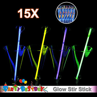 15X Multi Colour Glow Stir Stick Light Shining Party Glow in the Dark Glowsticks