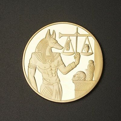 Gold Plating Egyptian Guardian Anubis Commemorative Coin Crafts Gift with Case