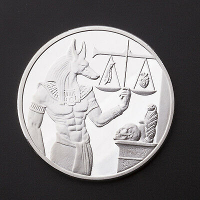 Silver Plating Egyptian Guardian Anubis Commemorative Coin Crafts Gift with Case