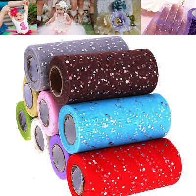 "25Yds 6"" Sequin Glitter Tutu Tulle Rolls Fabric Bridal Crafts Wedding Decoration"