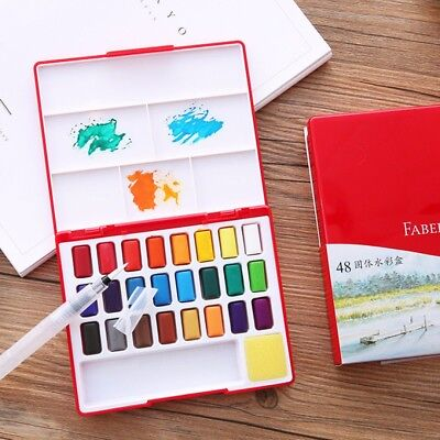 24/36/48 Colors Solid Watercolor Cakes Pigment Drawing Set With Paint Brush