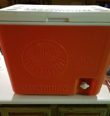 NEW JAGERMEISTER 2-BOTTLE SHOT COOLER Chest & Dispenser Orange & White