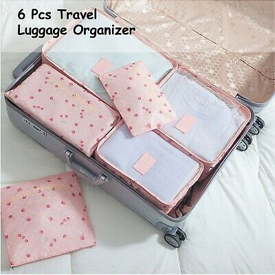 6 Pcs Packing Cube Storage Travel Luggage Organizer Bag Pink Cherry Colour Pouch