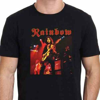 b87d551a Ritchie Blackmore Rainbow RISING'76 Tee Black Tshirt Men's T-Shirt Size S to