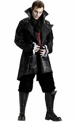 Deluxe Vampire Black Jacket Adult Mens Fancy Dress Halloween Costume