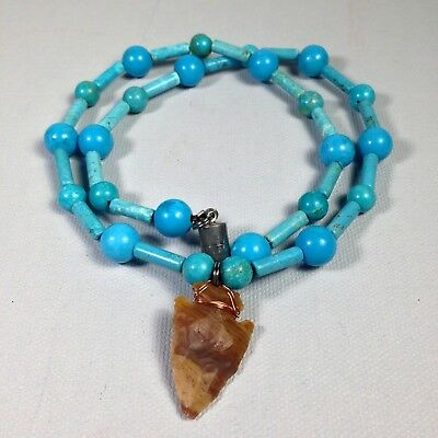 Vintage Native American Genuine Arrowhead Turquoise Necklace- WOW