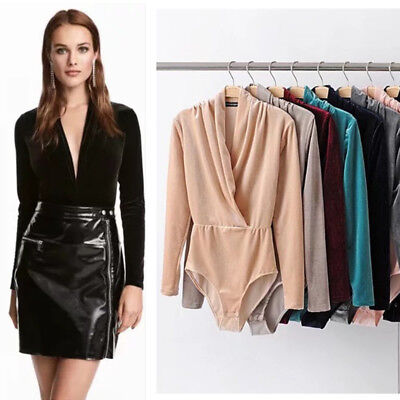 98e47fccc8 Women Ladies V neck Tuxedo Wrap Over Bodysuit Long sleeve Shirt Velvet Top