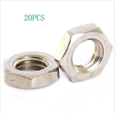 20X A2 M10X1 Stainless Fine Pitch Hexagon Half Lock Nuts Hex Thin Nut
