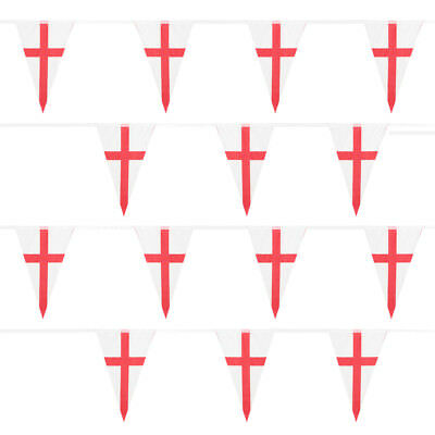 St George's Day Bunting Russia World Cup Huge 33ft England Triangle Fabric Flags