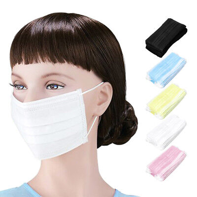 50x Disposable Surgical Face Salon Dust Ear Loop Medical Mouth Flu Mask 5 Colors