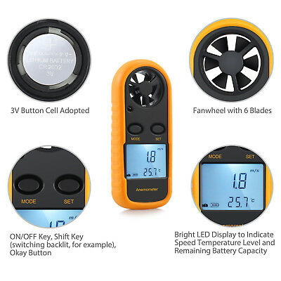 Digital LCD Anemometer Thermometer Temperature Gauge Air Wind Speed Meter Tester
