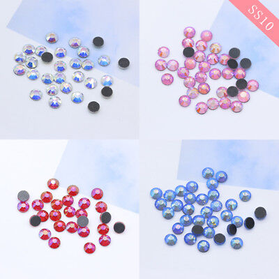 SS10 DMC Hot-fix Iron-on Flat-Back Beads Crystal Glass rhinestone Multi-color AB