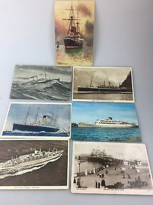 Vintage Postcards - Lot Of 7 - Ships - Boats - Peir - Variety Of Ships