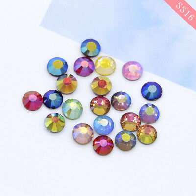 SS16 4MM DMC Hot-fix Iron-on Flat-Back Beads Crystal Glass color AB rhinestones