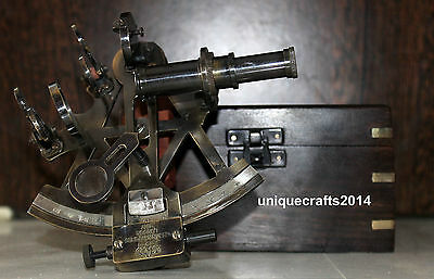 Marine Collectible Nautical Brass Working Maritime Sextant With Wooden Box Decor