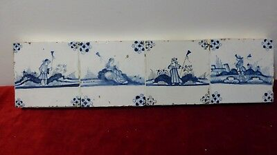 4 antique blue Delft Lille tiles. Anciens carreaux  Delft. XVIII.th C.......C