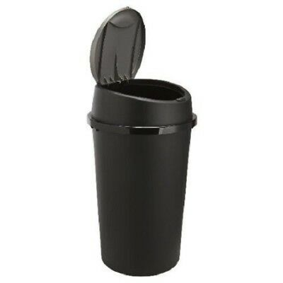 45L All Black Touch Top Bin Waste Dustbin With Lid Kitchen Home Rubbish Bin New