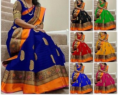 Designer bollywood pakistani indian cotton silk saree kanchipuram Sari Color