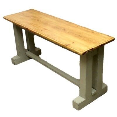 Narrow Country Style Rustic Pine Dining Table with Painted Base