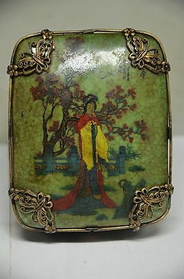 Delicate Chinese Silver Inlaid Porcelain Handmade Butterfly & Dragon Jewelry Box