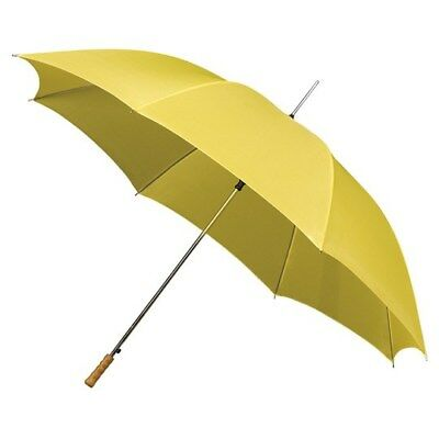 Mini Compact Golf Umbrella with Wooden Handle & Automatic Opening - Yellow