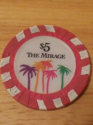 Rare The Mirage $5 Casino Chip - Las Vegas - Poker, Blackjack, Roulette