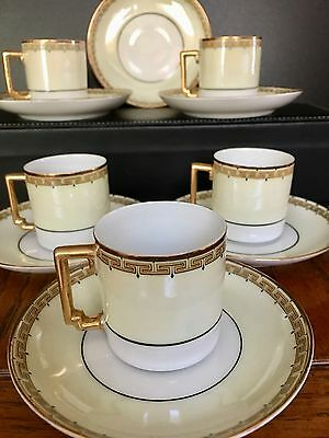 RARE Imperial H&C Heinrich SELB Bavaria demitasse set marked gold trim Perfect!