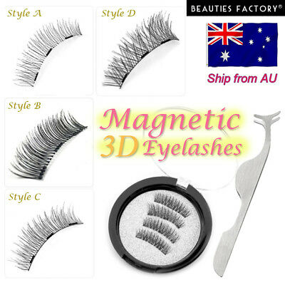 3D Triple Magnetic Handmade False Eyelashes + Tweezers No Glue Natural Extension