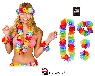 4 Pcs Gay Pride Lei Hula Hawaiian Flower Garland Hen Party Fancy Dress Costume