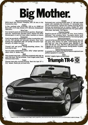 1970 TRIUMPH TR-6 Convertible Car Vintage Look Replica Metal Sign - BIG MOTHER