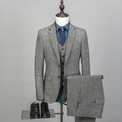 Men's Gray Tweed Suit Groom Tuxedos Formal Wedding Suit Two Buttons Custom Made