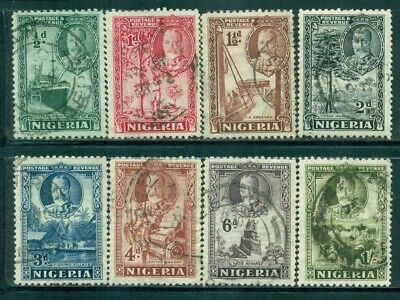 NIGERIA Sc38-45 SG34-41 Used 1936 KGV Defin short set of 8 to 1sh SCV$12