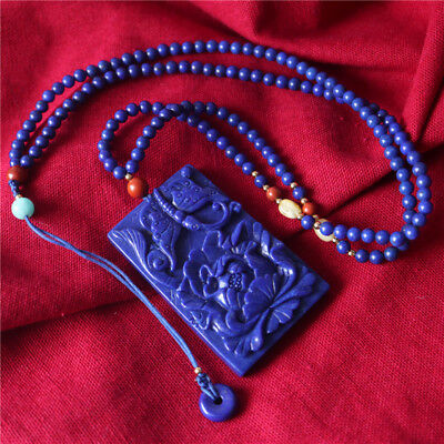 100% Afghanistan Natural Lapis Carved Butterfly Peony Flower Necklace Pendant
