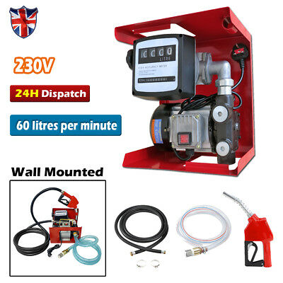 230V 50PSI Wall Mounted Diesel Electric Pump Kit Transfer Fuel Automatic Nozzle