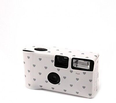 Disposable Cameras with Flash Pack of 10 White with Silver Hearts Design