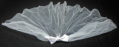 Nib White Bow Comb Tulle Veil Pearl & Cross Accents First Communion Flower Girl