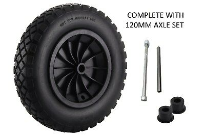 "14"" Black Pu Wheelbarrow Wheel / Puncture Proof / Solid 3.50/3.00-8 + 120Mm Axle"