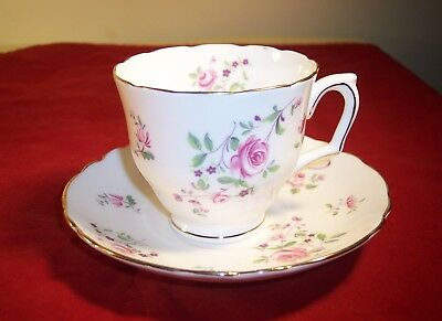 Crown Staffordshire White Bone China Cup and Saucer with Pink English Roses