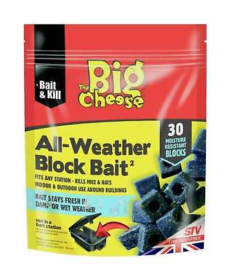 The Big Cheese STV213 All-Weather Mouse Mice & Rat Block Bait - 30x 10g