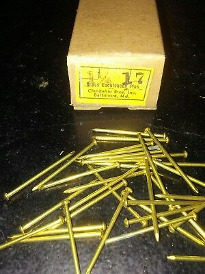 "Vtg.1&1/4""All Brass 17 Guage Nails-150+ Each-Escutcheon-Clock Repair-Steampunk"