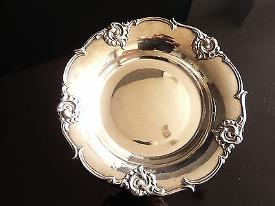 ANTIQUE 1930's SPANISH STERLING SILVER ORNAMENTED DISH TRAY - 26 cm 253 grams -