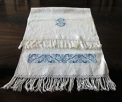 Antique Large European Handmade Woven Fabric and Needlepoint Design