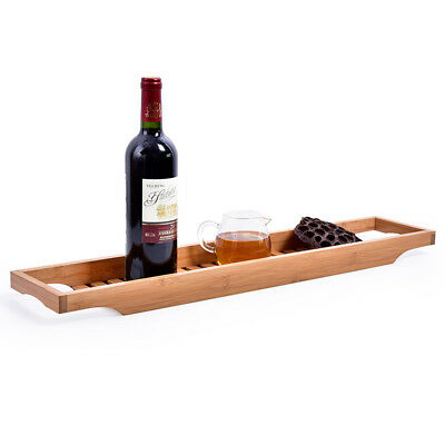 1pc Bathroom Bamboo Bath Shelf Caddy Wine Holder Tray Over Bathtub Rack Storage
