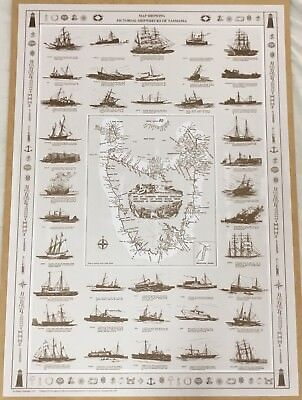 Map Showing Pictorial Shipwrecks Of Tasmania