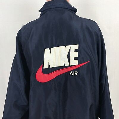 Vintage 90s Nike Air Windbreaker Jacket XXL Navy Blue Big Spell Out Swoosh  Nylon 2578e83f8