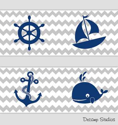 Nautical Boy Nursery Wallpaper Border Gray Chevron Navy Blue Wall Art Decals