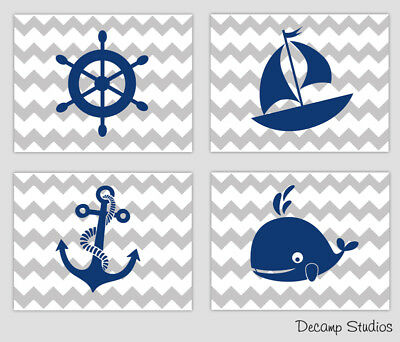 Nautical Baby Boy Nursery Prints Gray Grey Chevron Navy Blue Wall Art Room Decor